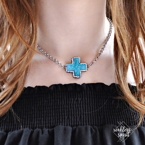Have Faith Turquoise Druzy Cross Choker Necklace