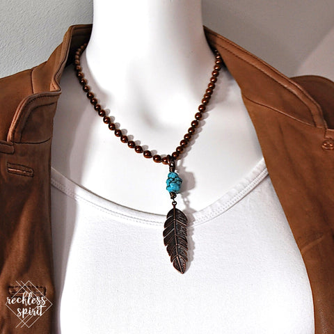 Copper Feather Drop Necklace