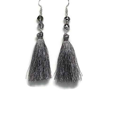 Silver Frost Tassel Earrings
