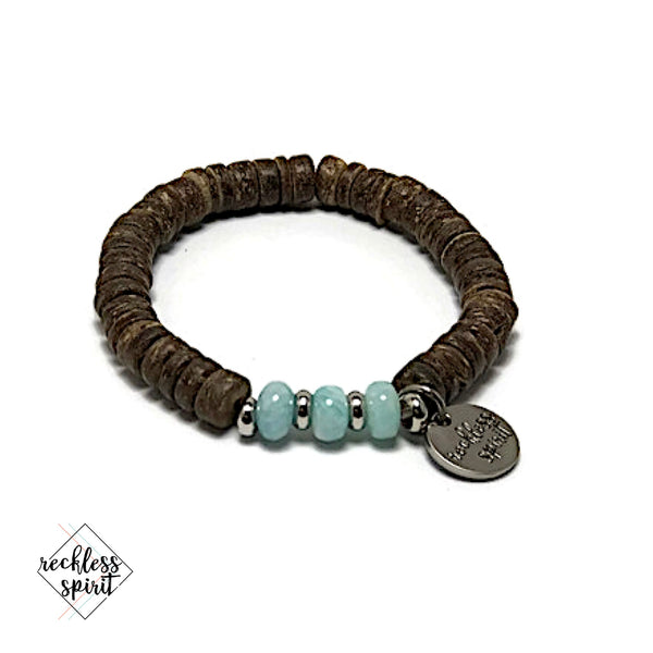 Paradise Coconut Bead and Amazonite Stone Stretch Bracelet