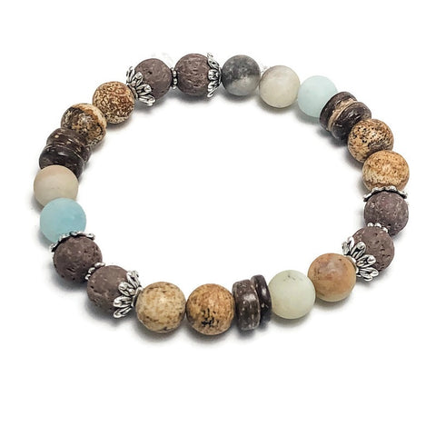 Amazonite Women's Aromatherapy Brown Lava Bead Stretch Bracelet