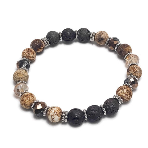 Picture Jasper Aromatherapy Brown Lava Bead Stretch Bracelet