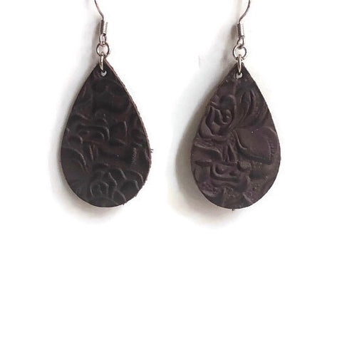 Pony Express Embossed Leather Dangle Earrings