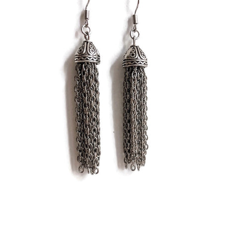 Dazzle Me Silver Tassel Earrings One-of-a-Kind