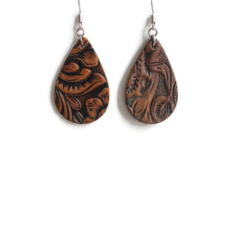 Saddle Up Embossed Leather Dangle Earrings
