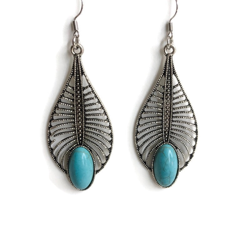 Peacock Feather Dangle Earrings One-of-a-Kind