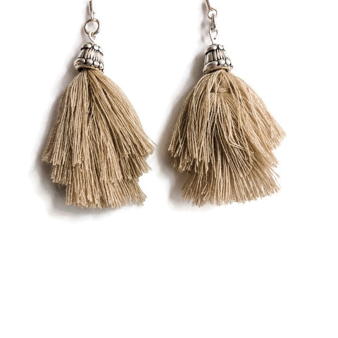 Taupe Triumph Fringe Earrings