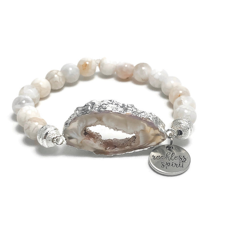 Milky White Agate Beaded Stretch Bracelet