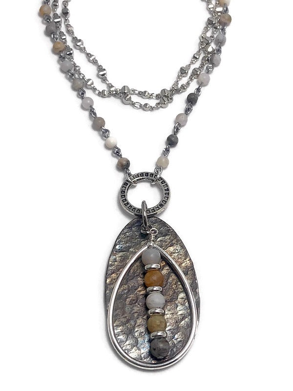 Harbor Mist Hammered Spoon Necklace