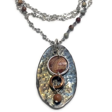 Amber Waves Hammered Spoon Necklace