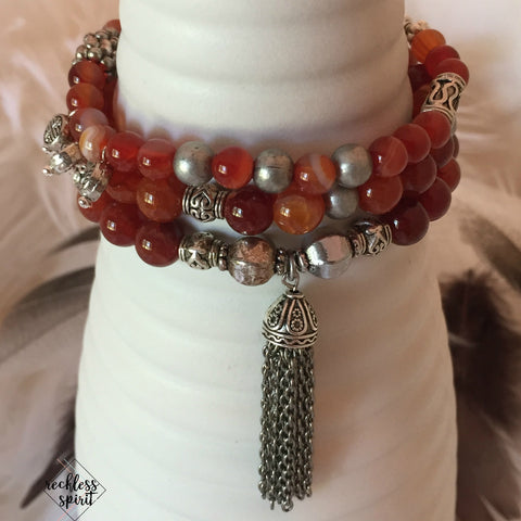 Caramel Tassel Stackable Stretchy Bracelet Set