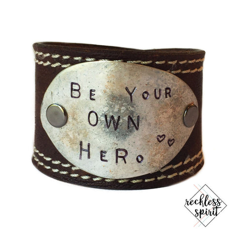 Be Your Own Hero Leather Cuff Bracelet