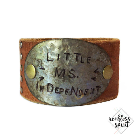 Little Miss Independent Leather Cuff Bracelet