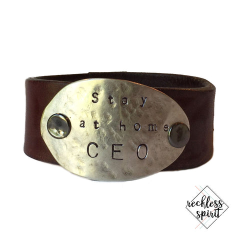 WORD CUFF: Stay At Home CEO Leather Cuff Bracelet