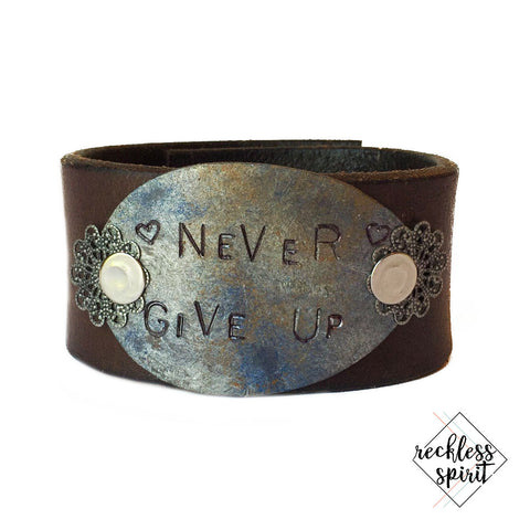 Never Give Up Leather Cuff Bracelet