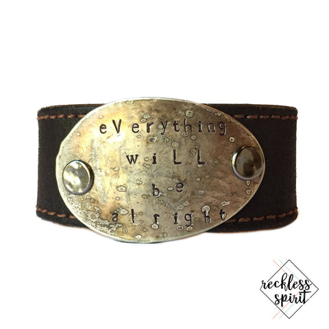 Everything Will Be Alright Leather Cuff Bracelet