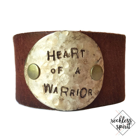 Heart of a Warrior Leather Cuff Bracelet