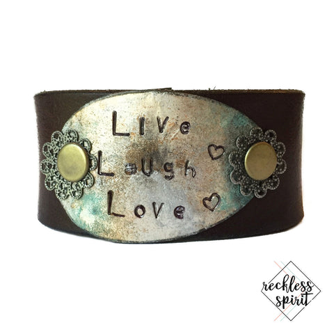 Live Love Laugh Leather Cuff Bracelet