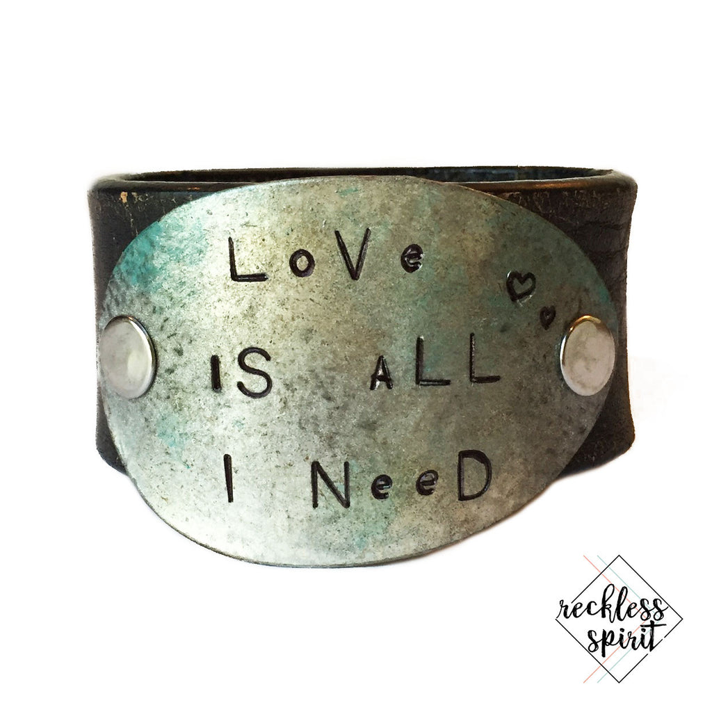 WORD CUFF: Love is All I Need Leather Cuff Bracelet