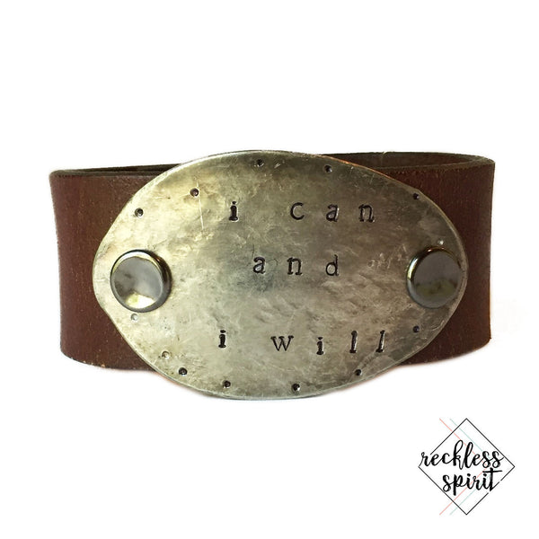 WORD CUFF: I Can And I Will Leather Cuff Bracelet