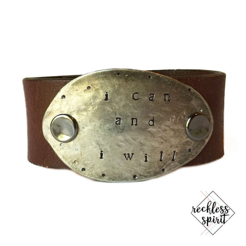 I Can And I Will Leather Cuff Bracelet