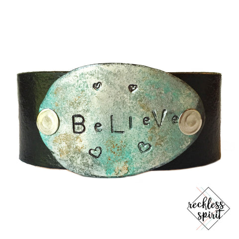 Believe Leather Cuff Bracelet