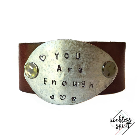 You Are Enough Leather Cuff Bracelet