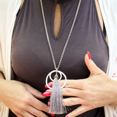 Lilou Ringed Tassel Necklace