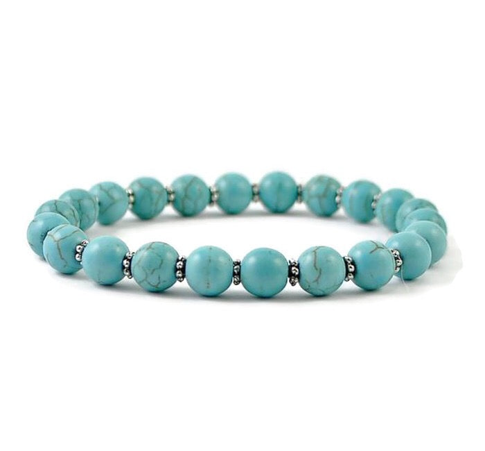 Turquoise Howlite Womens Stretch Bracelet