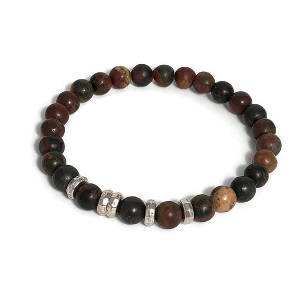 Natural Turquoise Bead Mens Stretch Bracelet