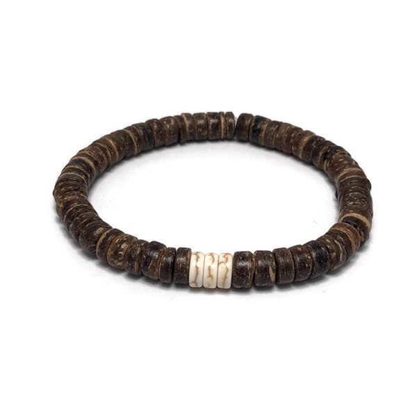 Coconut and Heishi Bead Mens Stretch Bracelet