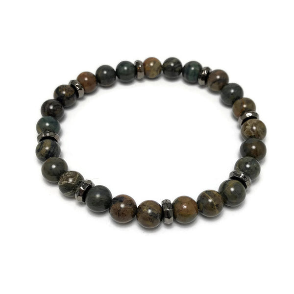 Ocean Jasper Mens Stretch Bracelet