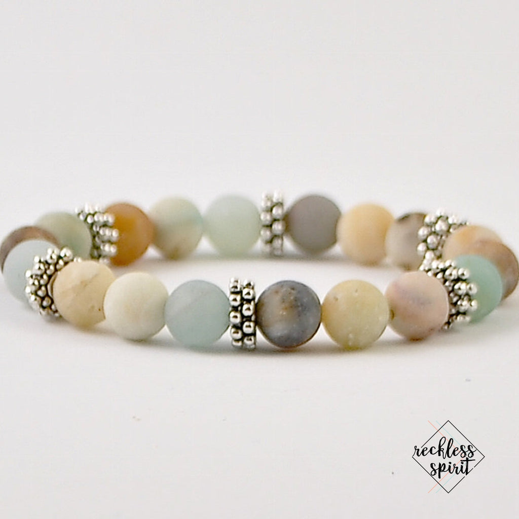 Amazonite Womens Stretchy Bracelet