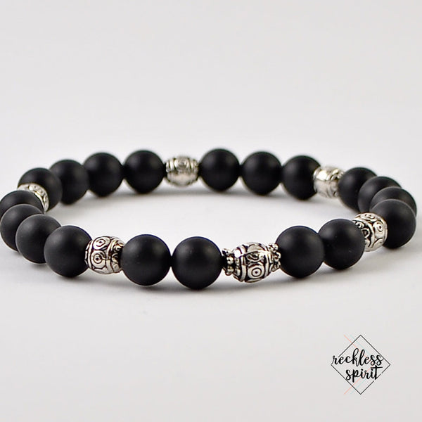 Black Agate Womens Stretchy Bracelet