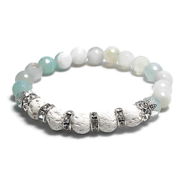 Faceted Blue Agate Aromatherapy Lava Stretch Bracelet