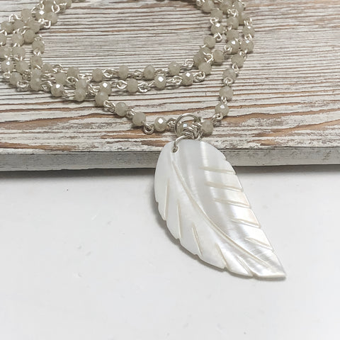 Icy Snowflake Feather Pendant Necklace