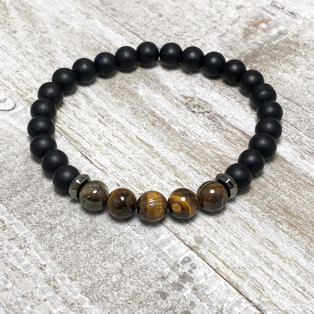Black Agate and Tiger's Eye Mens Stretch Bracelet