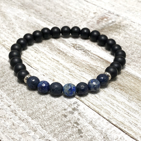 Black and Blue Agate Bead Mens Stretch Bracelet