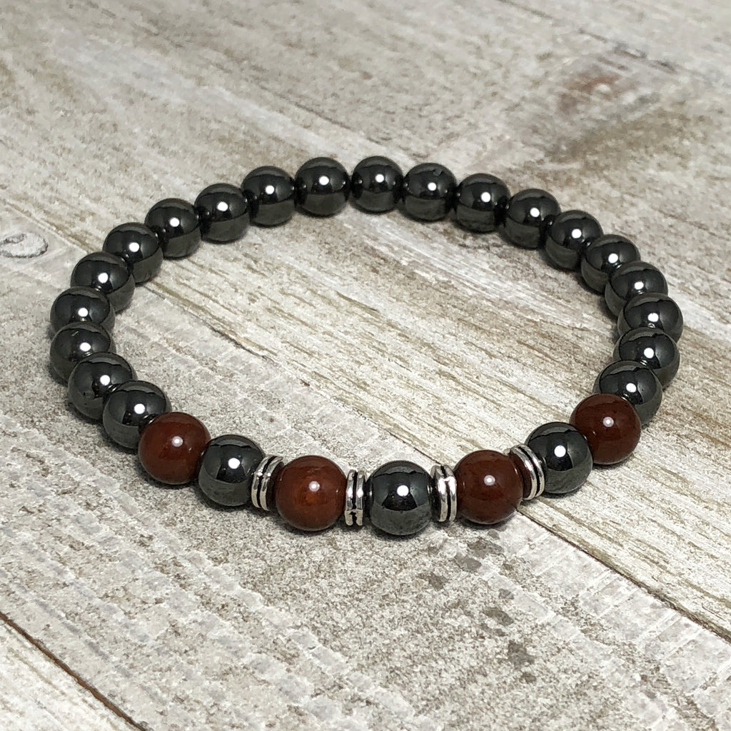 Hematite Style and Agate Bead Mens Stretch Bracelet
