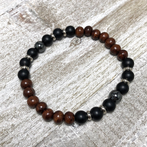 Black Agate and Sandalwood Mens Stretch Bracelet