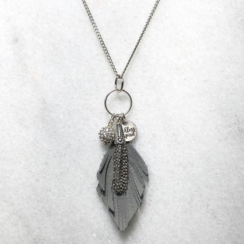Flutterby Leather Feather Cluster Necklace