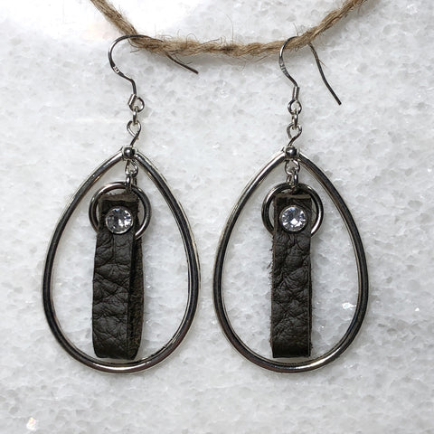 Leather and Lace Rhinestone Teardrop Earrings