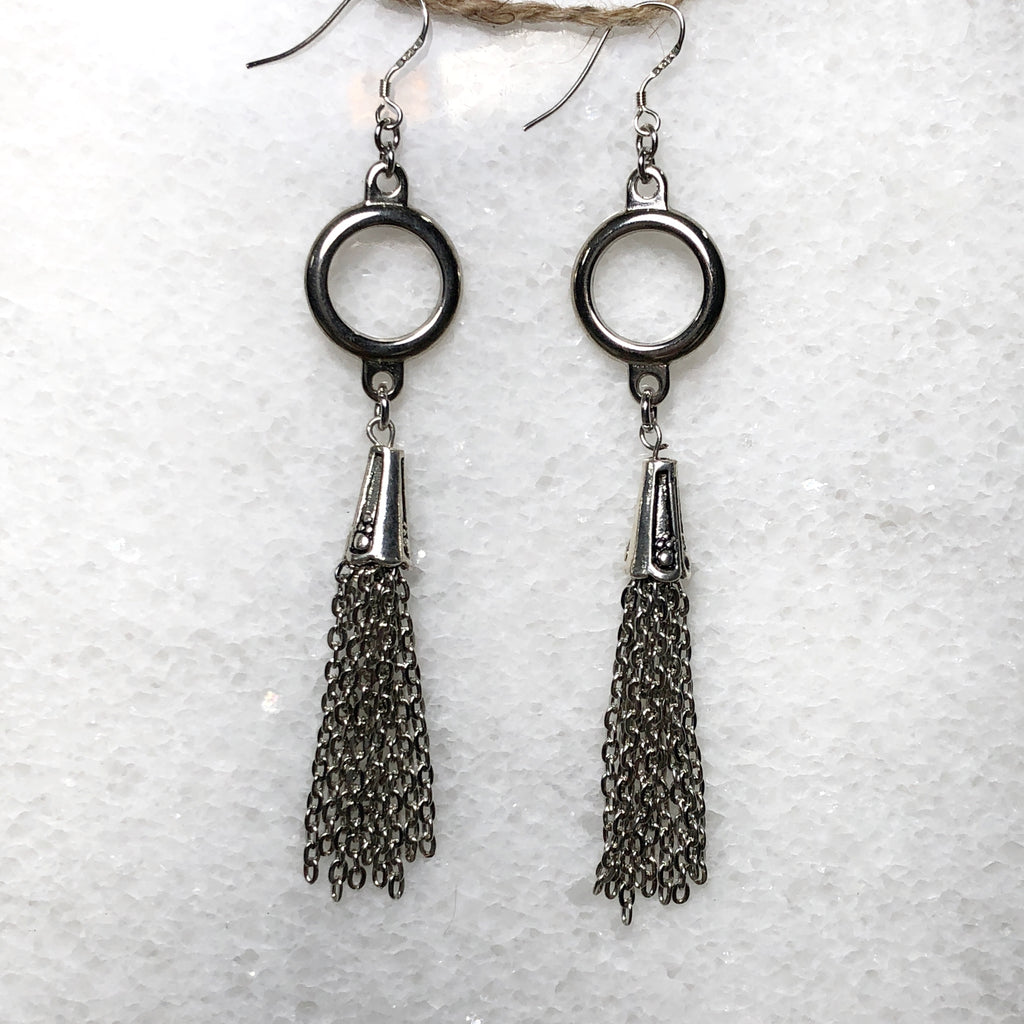 Chain Mail Tassel Earrings
