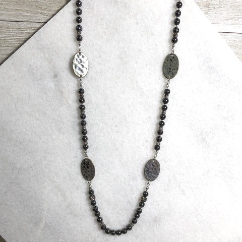 Regal Chrome Hammered Spacer Necklace One-Of-A-Kind