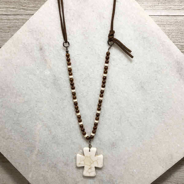Howlite Cross One-of-a-Kind Pendant Necklace