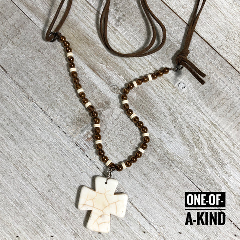 Rugged Cross One-of-a-Kind Howlite Pendant Necklace