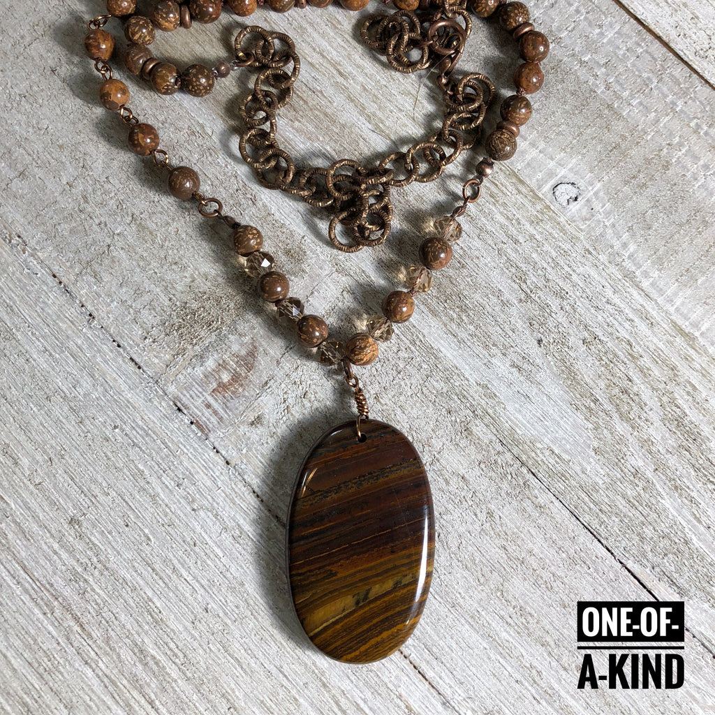 Flawless One-of-a-Kind Tiger's Eye Pendant Necklace