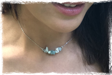 Genuine Amazonite Chip Bar Necklace