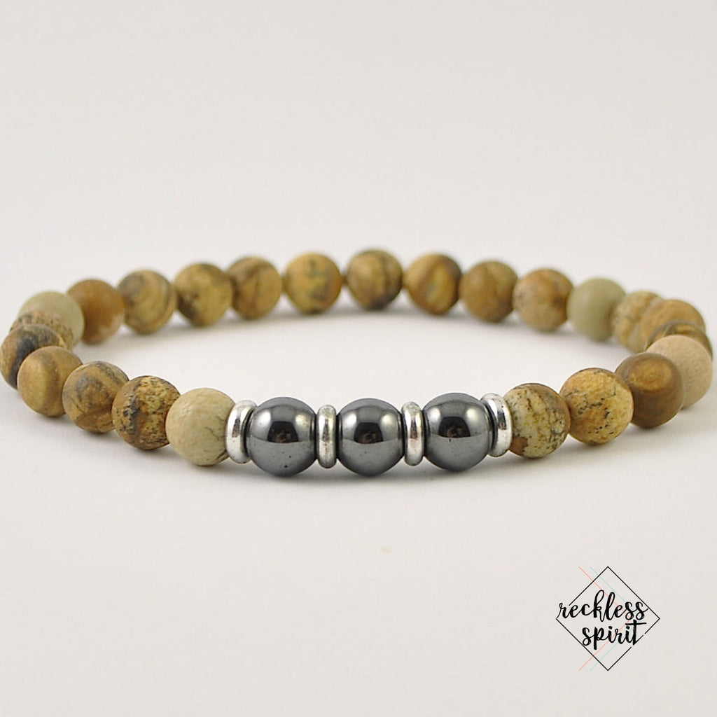 Picture Jasper Mens Stretch Bracelet