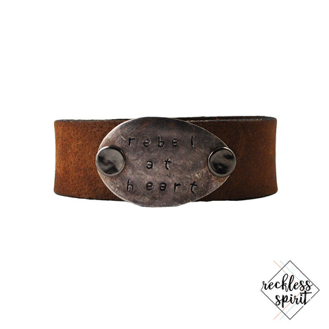 Rebel At Heart Thin Leather Cuff Bracelet